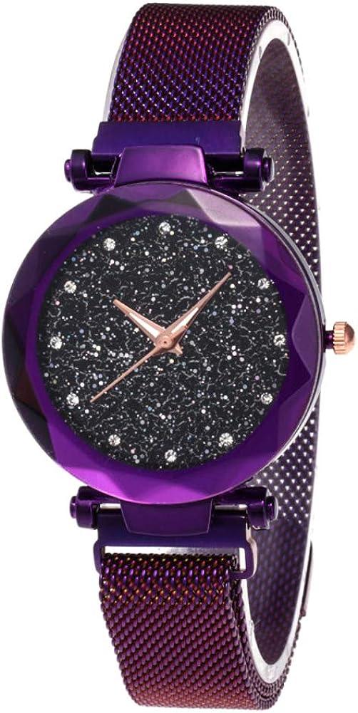 El más Nuevo Reloj Starry Sky a Prueba de Agua, Correa magnética con Hebilla, Reloj de Acero Inoxidable para Mujeres niñas