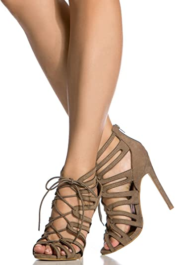 43cd3e22a8d81 Amazon.com | Red Kiss Taupe Faux Suede Cut Out Lace Up Heels | Sandals