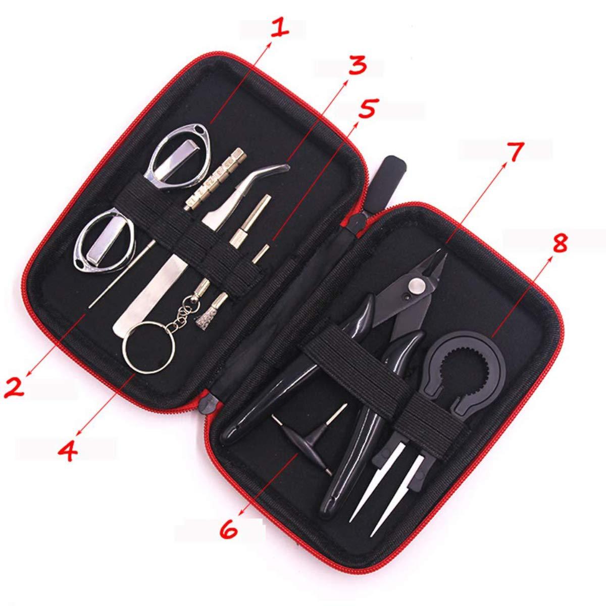 Spulen B/ürste Spulen-Set Drahtschneider Schraubenzieher,Set Als Geschenk 8 in 1 QFUN DIY-Werkzeug-Kit mit f/ür Reparatur oder Werkzeug-Kit Spule-Jig-wickelset Klapp Schere Keramik-Pinzette
