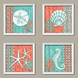 4 Lovely Teal and Coral Ocean Seashell Sand Dollar Seahorse Star Fish Collage; Nautical Decor; Four 12x12 InchWhite Framed Prints; Ready to hang!