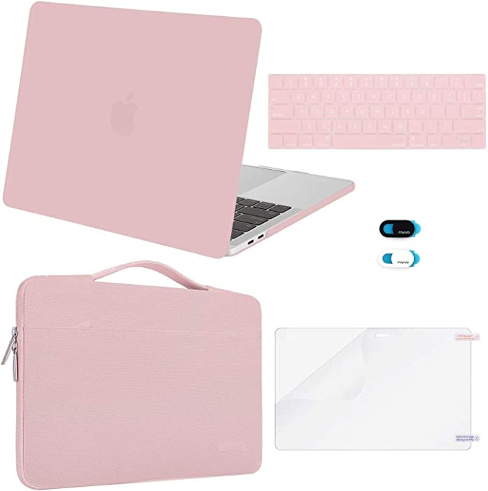 MOSISO Compatible with MacBook Pro 13 inch Case 2019 2018 2017 2016 Release A2159 A1989 A1706 A1708, Plastic Hard Shell Case&Sleeve Bag&Keyboard Skin&Webcam Cover&Screen Protector, Rose Quartz