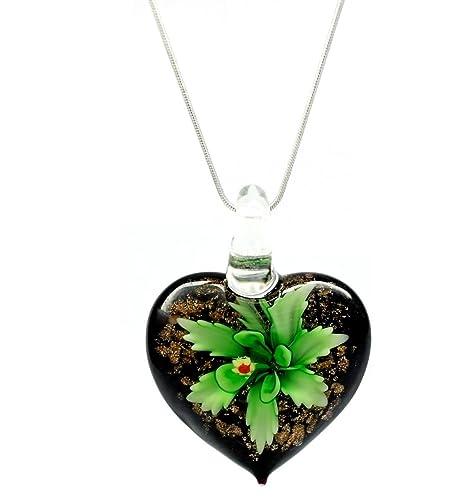 136b039449be Decorativo motivos florales verde persiana veneciana de Murano diseño de  flores de cristal con forma de corazón Love lámpara de techo collar con  colgante en ...