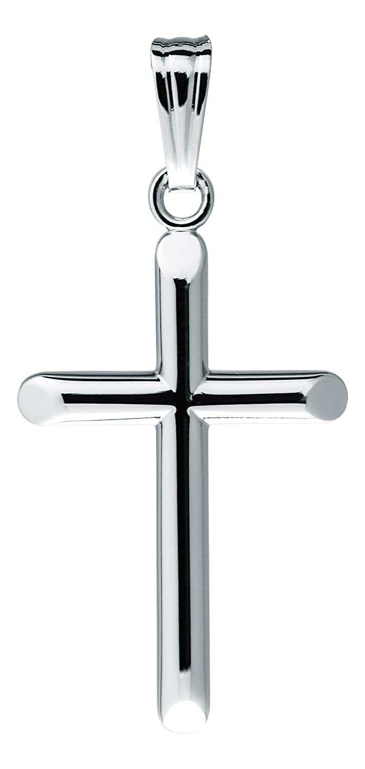 KiddieKraft Sterling Silver Plain Polished Cross Pendant with Cable Chain 15