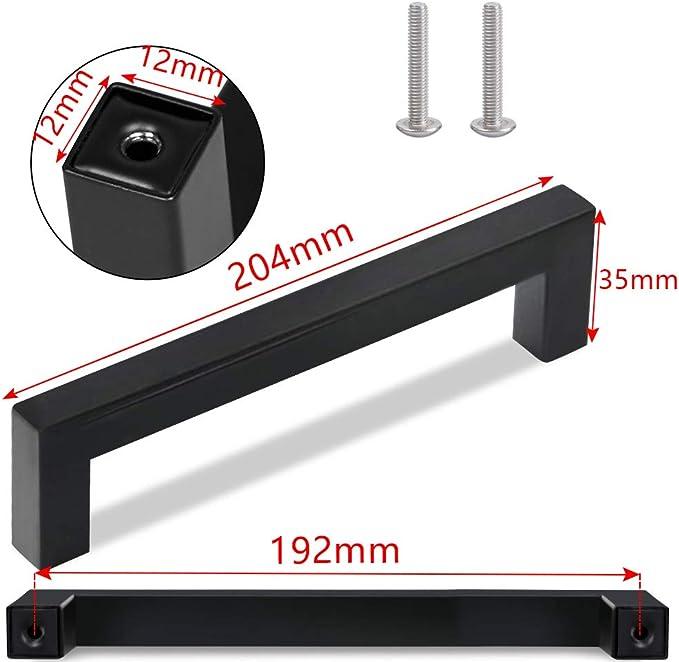 Tiradores para muebles 10 unidades, acero inoxidable, 108-204 mm, cuadrados, 12 x 12 mm Negro color negro