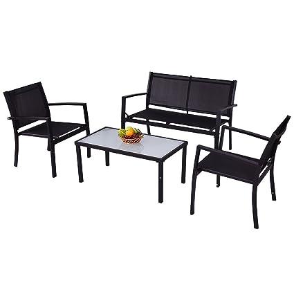 Amazon.com: giantex 4 Pcs Muebles de jardín sofá Loveseat ...