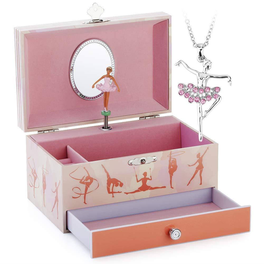 Musical Jewelry Box - Musical Storage Box with Drawer and Jewelry Set with Black Girls Gymnastics Theme - Swan Lake Tune Pink