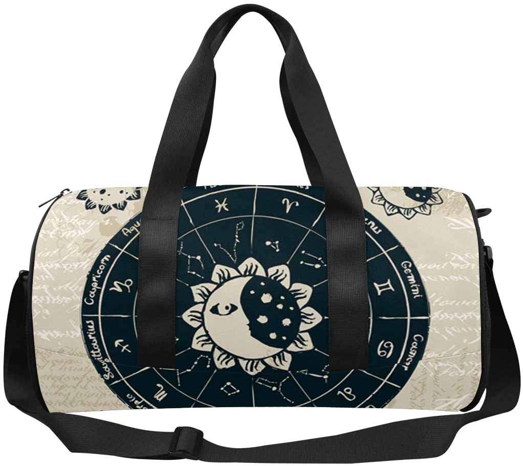 Moon Travel Duffel Bag Sports Gym Bag INTERESTPRINT Zodiac with the Sun