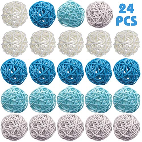 DomeStar Rattan Ball, 24PCS Orbs Vase Fillers (Lights Rattan Ball Diy)