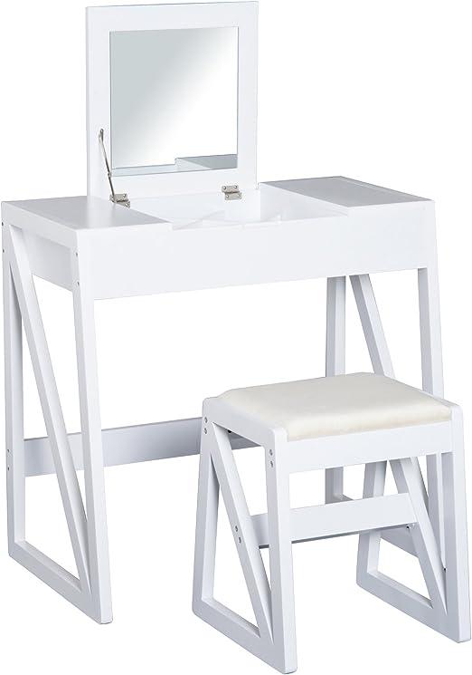 HOMCOM Tocador Mesa para Maquillaje con Taburete Espejo Tapa ...