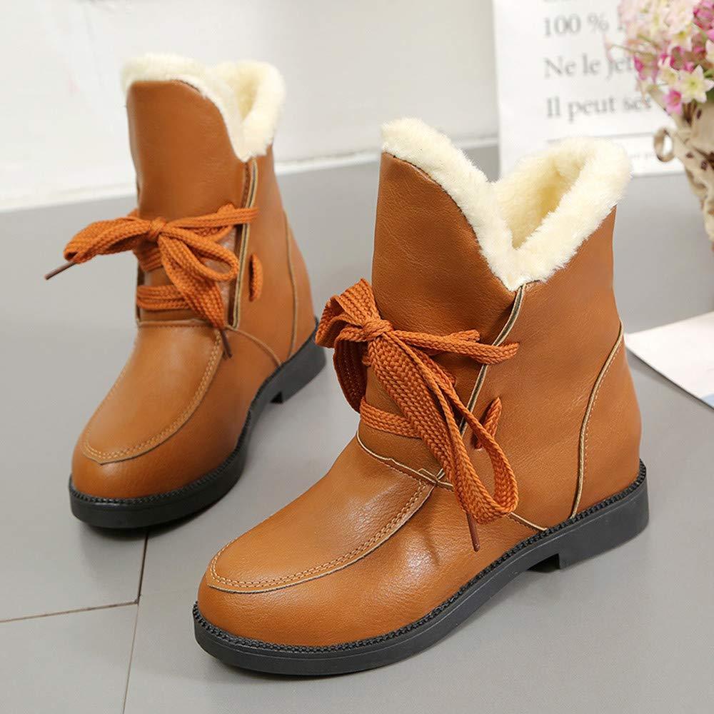 SamMoSon Botas Mujer Altas De Mujer Tacon Marrones,Zapatos De Tacón Cuadrado para Mujer Martain Boot Cuero Mantener Cálidos Zapatos con Cordones De Punta ...