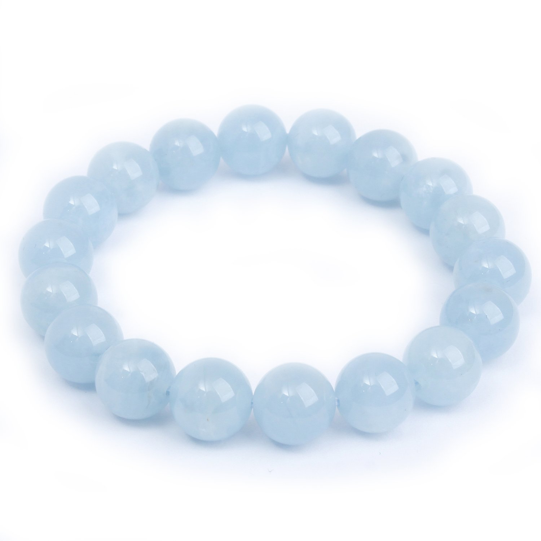 MOON FAIRY (Fantasy) 10mm Precious Natural Aquamarine Elastic Beaded Bracelet