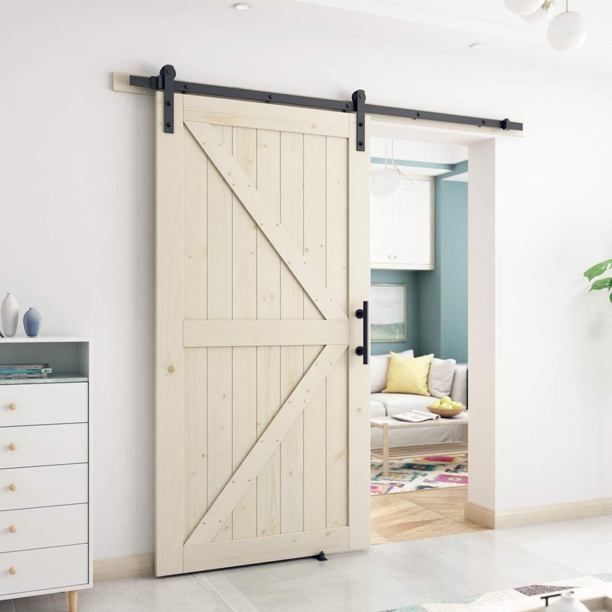 SmartStandard - Puerta corrediza de madera de granero de 42 x 84 pulgadas, pre-perforada, lista para montar, bricolaje, sin acabado, con paneles de madera de ciprés, solo puerta interior, natural, marco en