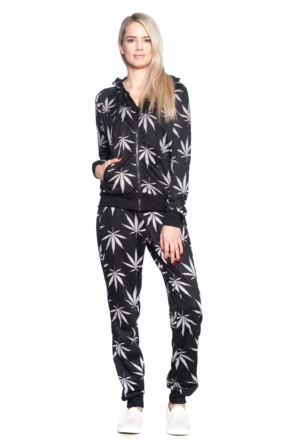 Calilogo Women's Weed Marijuana Pot Leaf Casual Jogging Pants Jacket Includes Free Gift (Small, Set Black) by Calilogo