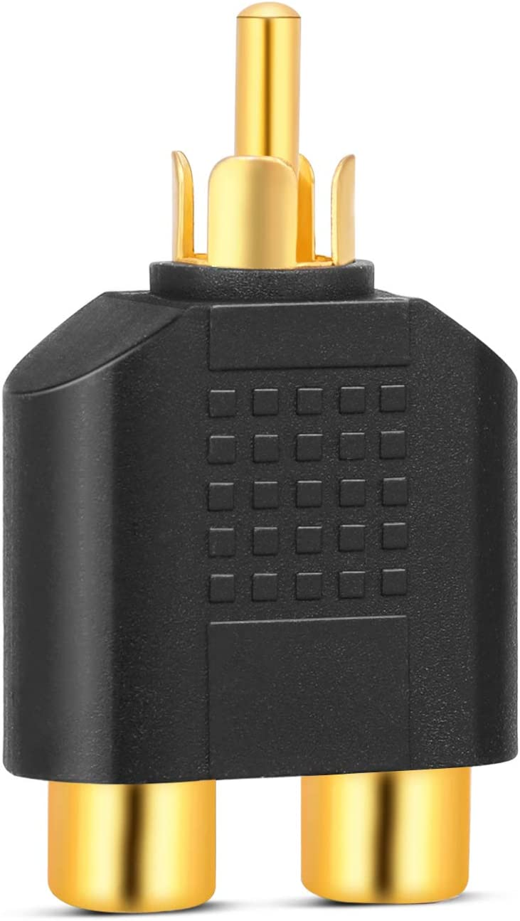 Black TNP RCA Male to Female Split Adapter 1 Male Jack to 2 Female Plugs AV Audio//Video Connector Gold Plated Converter Y-Splitter for Digital Audio Sound System Subwoofer TV