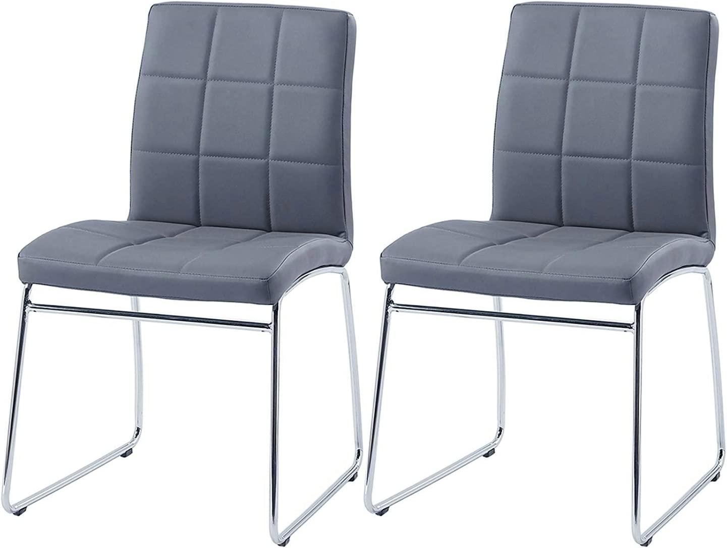 Modern Dining Chairs Set of 2,Dining Room Chairs with Faux Leather Padded Seat Back in Checkered Pattern and Sled Chrome Legs, Kitchen Side Chairs for Dining Room,Kitchen, Living Room,Gray