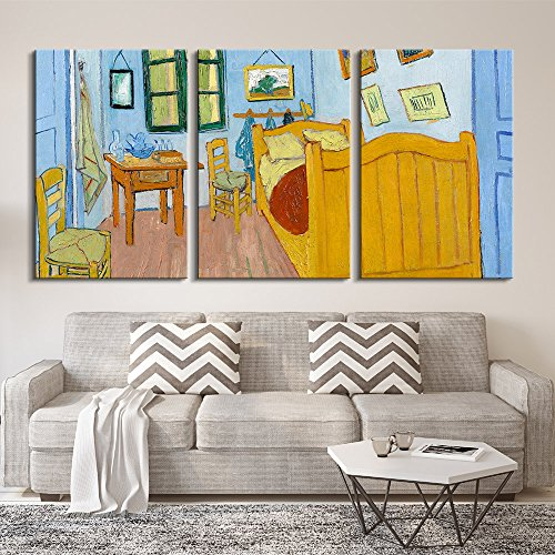 3 Panel The Bedroom by Vincent Van Gogh x 3 Panels