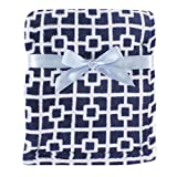 Luvable Friends Print Coral Fleece Blanket, Blue Trellis