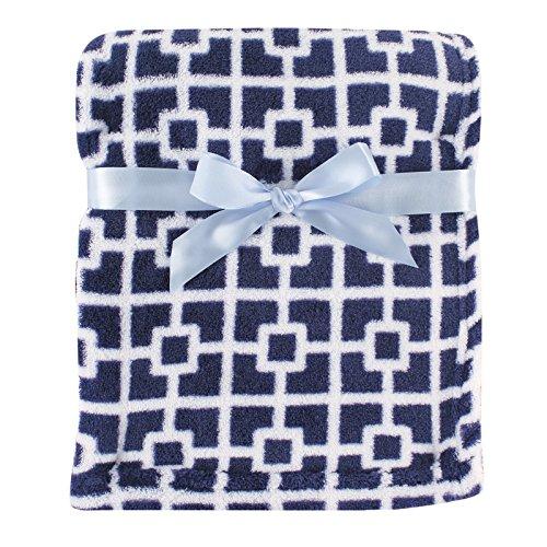 - Luvable Friends Print Coral Fleece Blanket, Blue Trellis