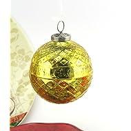 Importwala Textured Christmas Hanging Mercury Glass Ball Decorations Ornament (Golden, Round)