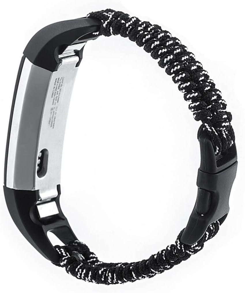 Tiean for Fitbit ALTA HR、編組ナイロンバングルウォッチバンド手首ストラップ ブラック ブラック