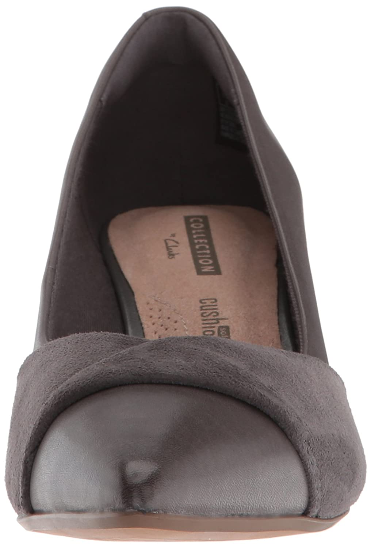 CLARKS Women's Linvale Vena Pump B077YDTVM7 085 W US|Grey Leather/Nubuck Combi