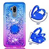 Cfrau Compatible with LG G7 ThinQ/G7 with Black Stylus,Luxury Liquid Glitter Ring Kickstand Shockproof Quicksand Bling Cute Diamond Girls Women Cover for LG G7 ThinQ/G7,Blue + Purple
