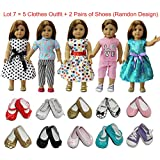 """ZITA ELEMENT American 18 inch Girl Doll Outfits Lot 7 = 5 Daily Costumes Clothes + 2 Ramdon Style Shoes for 18"""" Girl Doll Accessories"""