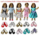 ZITA ELEMENT Doll Clothes- Lot 7=5 Daily Costumes Gown Clothes+ 2 Shoes fit for American Girl Doll and other 18 inches XMAS GIFT- Ramdon Style