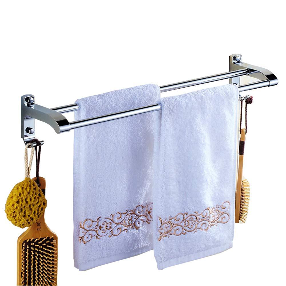 Towel Rack Doppelter Handtuchhalter aus Edelstahl, Bad mit Haken zum Aufhängen, Größe  80 cm B07LH19VWS Handtuchhalter & -stangen