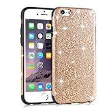 iPhone 6s Case, Tendlin Luxury Bling Glitter Back Flexible TPU Silicone Hybrid Soft Sparkle Case [Slim Fit] for iPhone 6 and iPhone 6s (Gold)