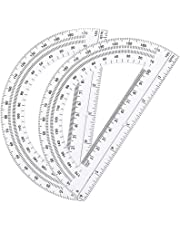 Leline's Plastic Protractor 180 Degree, 2pcs Student Math Protractors 6-inch Long, Clear (2)