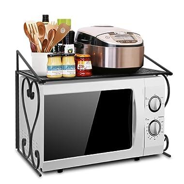 AISHN Metal Microwave oven Rack/shelf Kitchen Shelves Counter and Cabinet Shelf (Black)