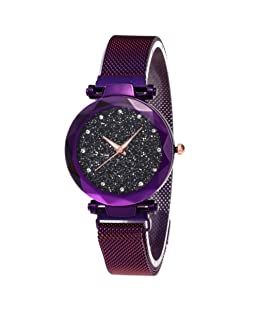 Reloj Starry Sky a Prueba de Agua, Correa magnética con Hebilla, Reloj de Acero Inoxidable para Mujeres niñas (Purple)