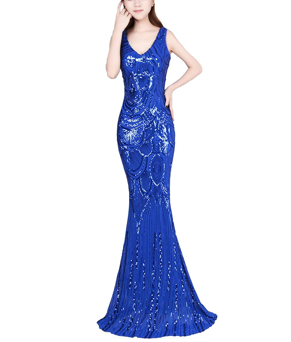 812bluee Chowsir Women Sexy Elegant Slim Sequin Cocktail Party Evening Long Dress