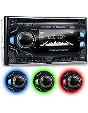 XOMAX XM-2CDB620 Autoradio CD-Receiver DIN 2 (doble DIN) Tamaño de montaje estándar + MOSFET 4x60 vatios + AUX-IN + 3 ajustables colores de iluminación: azul, rojo, verde + WMA + MP3 + USB y Micro SD (128 GB por Medio) + Bluetooth manos libres y música + 2x Salida de subwoofer + ISO + antena de radio