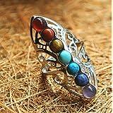 DOOPOOTOO 925 Silver Healing Hollow Stones Adjustable 7 Chakra Ring Thumb Reiki Gem Ring