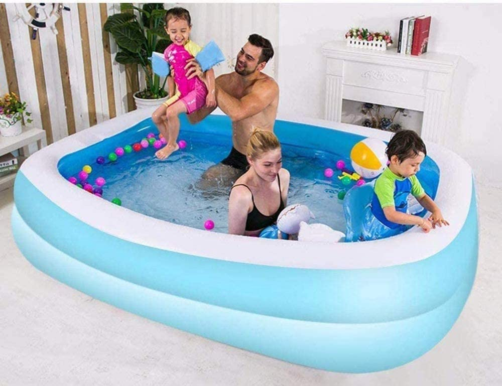 Summer Water Party Outdoor Adult Easy Set Swimming Pool for Backyard Kids Wdbridal Family Inflatable Swimming Pool,120x59x18Full-Sized Inflatable Lounge Pool for Kiddie