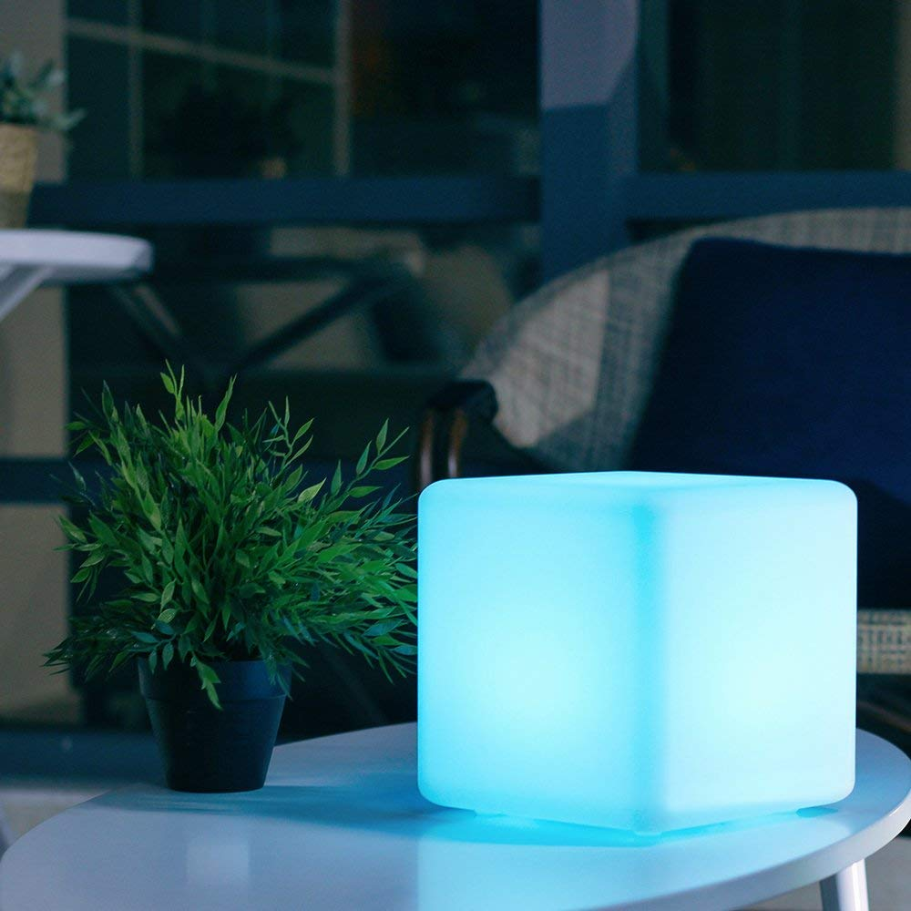 LED Glow Cube Lights, 16 RGB Colors Changing and Remote Control, IP68 Waterproof with Rechargeable Battery & Adapter Power (4 Inches)