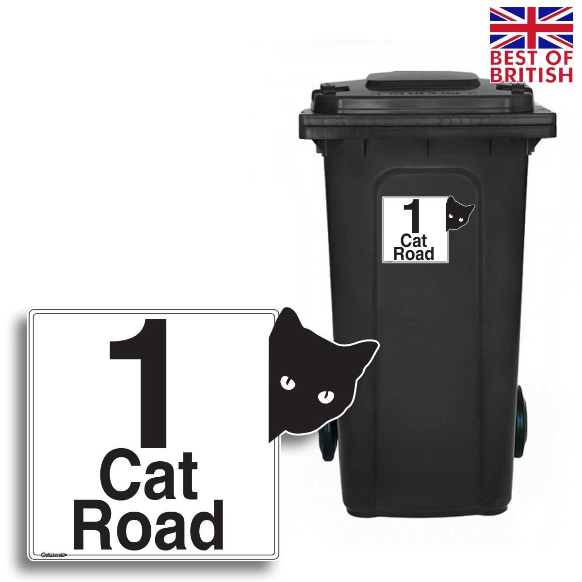 CAT - Personalised Wheelie Bin Sticker/Vinyl Labels with House Number & Street Name - Size A5 [4 Pack] Stickerzilla