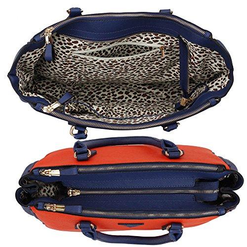 Look Office Compartments New Designer Womens Large College Ladies Design 3 1 Blue With Strap Bag Shoulder Tote Orange Handbag 78w4wqxA