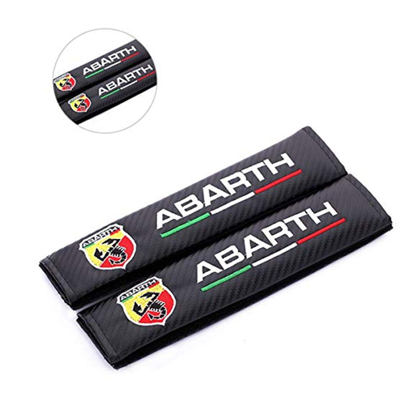 fanlinxin 2pcs Carbon Fiber +Embroidery Car Seat Belt Cover Pad Shoulder Cushion For ABARTH