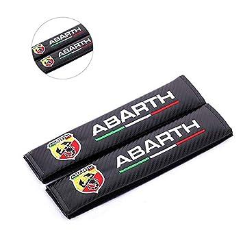 fanlinxin 2 Piezas de Fibra de Carbono + Bordado Funda de cinturón de Coche Almohadilla de Hombro cojín para Abarth.