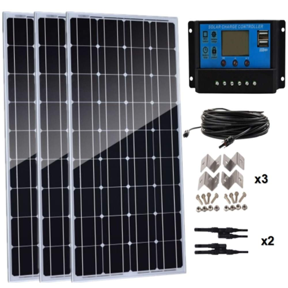 AUECOOR 300 Watts Monocrystalline Solar Panel kit 3pcs 100W 12V High Efficiency solar panel Module with 30A Charge Controller for Rv Marine Boat Off Grid