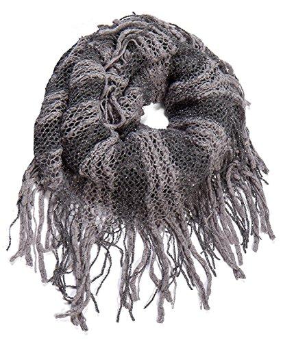 Stripe Knit Infinity Scarf - AOLOSHOW Two Colored Stripe Pattern Wide Knit Infinity Circle Scarf Winter, Grey