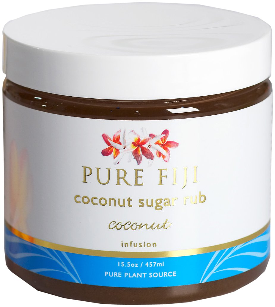 Pure Fiji Coconut Sugar Rub - Organic Exfoliating Sugar Scrub for Body, Coconut, 15.5 oz
