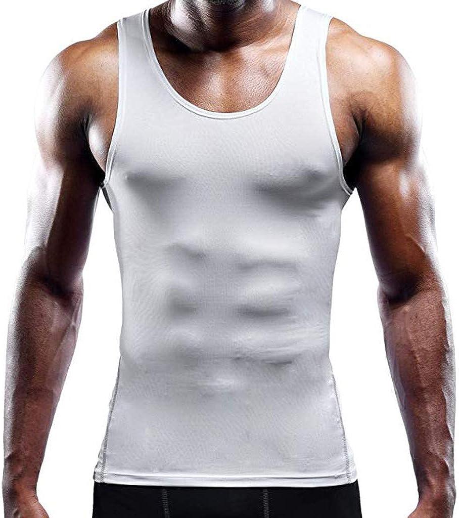 Sport Sleeveless Shirts,Mens Solid Round Neck Fit Slim Printed Tee Vest Tank