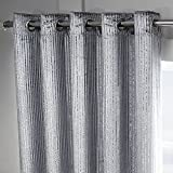 Cheap Tony's Textiles Modern Velvet Sparkle Window Drapes Curtains – Grommet Top – Silver Grey – 46″ Wide x 72″ Drop