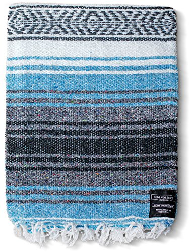 - Yoga Blankets Mexican - Mexican Blanket Yoga Serape Blankets - Mexican Blanket - Yoga Blanket - Authentic Baja Blanket Perfect as Beach Blanket, Camping Blanket(Sky Blue)