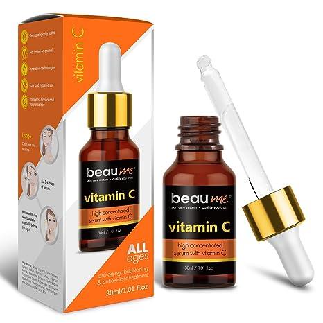 BEAUME® Suero de Vitamina C Altamente Concentrado con Ácido Hialurónico y Aceite de Semilla de
