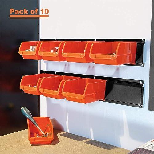 Wallmaster 8-Bin Storage Bins Garage Rack System 2-Tier Orange Tool Organizers Cube Baskets Wall Mount Organization